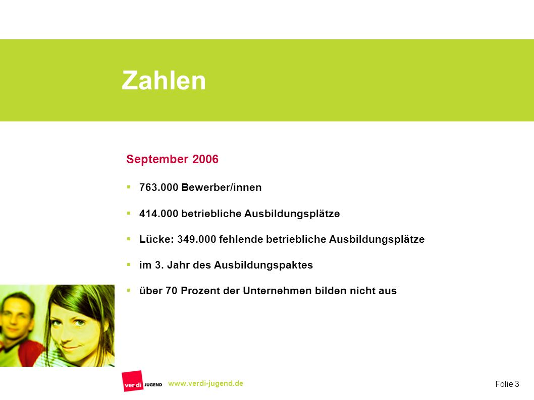 Zahlen September 2006 763.000 Bewerber/innen
