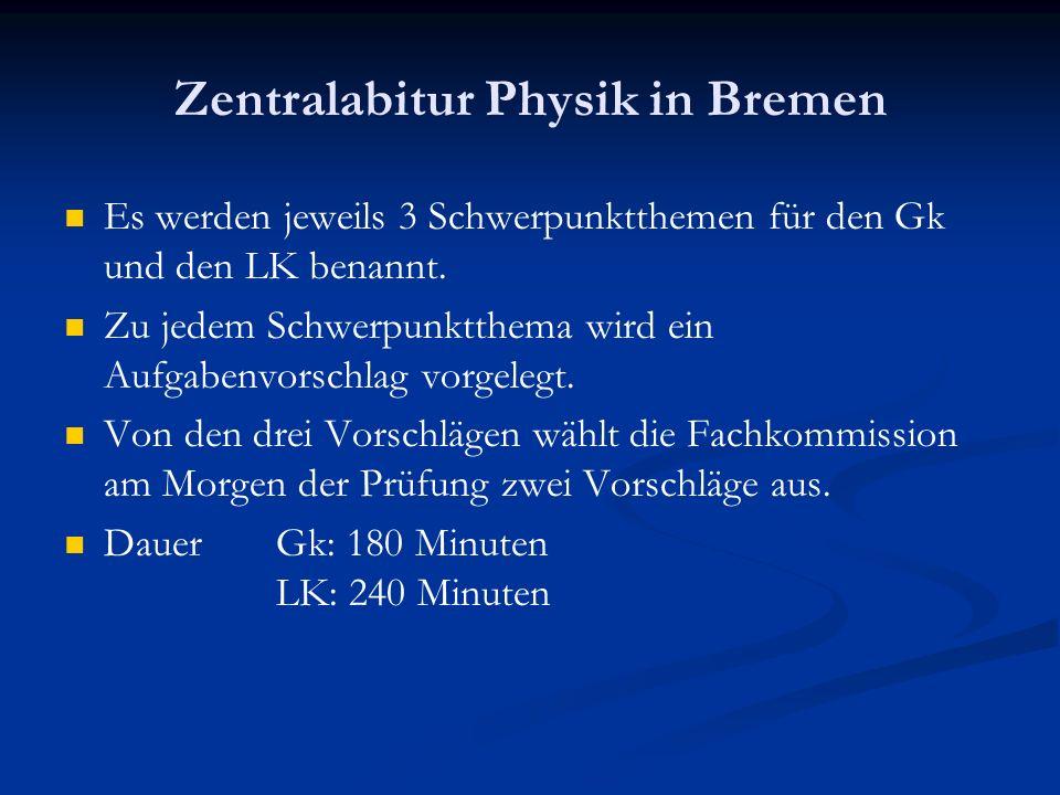 Zentralabitur Physik in Bremen