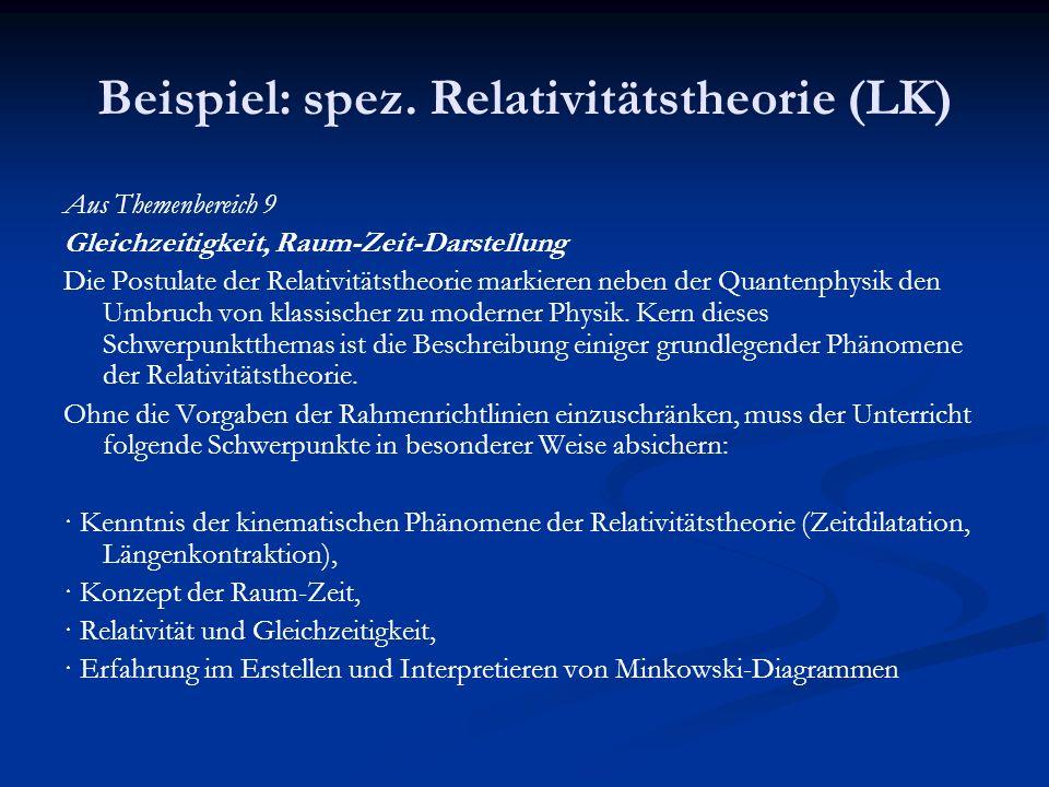 Beispiel: spez. Relativitätstheorie (LK)