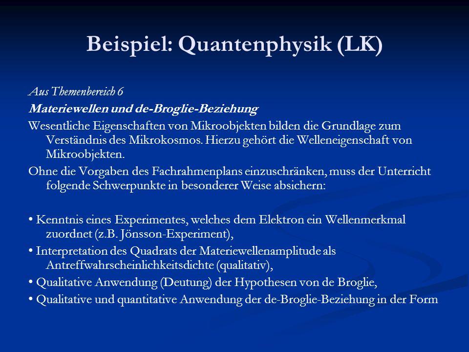 Beispiel: Quantenphysik (LK)