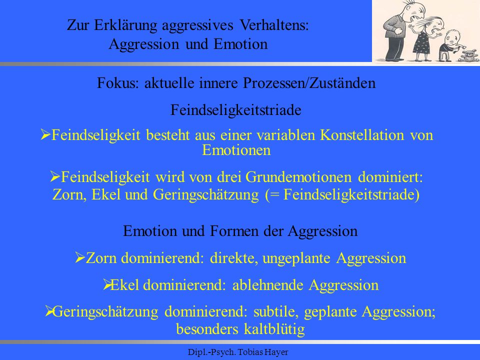 Zur Erklärung aggressives Verhaltens: Aggression und Emotion