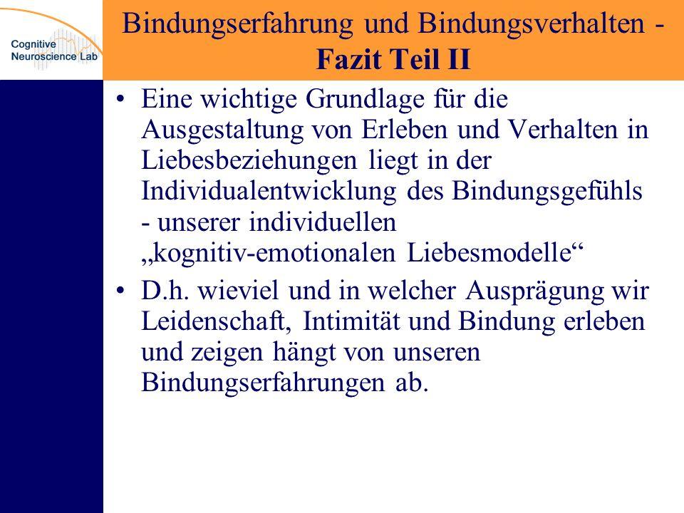 Bindungserfahrung und Bindungsverhalten - Fazit Teil II