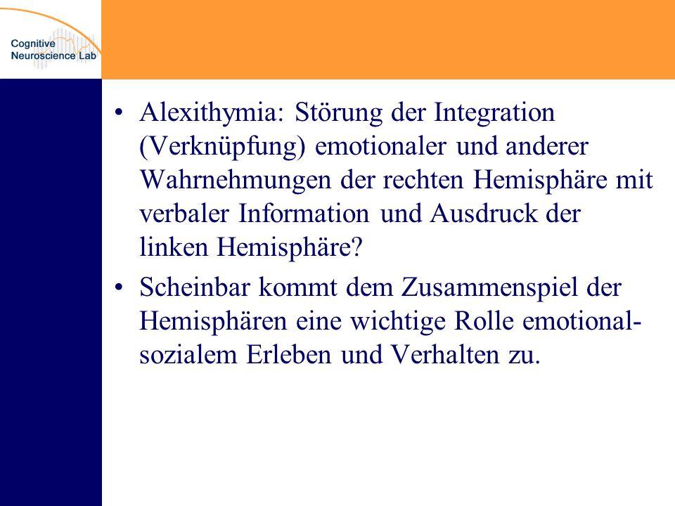 Alexithymia: Störung der Integration (Verknüpfung) emotionaler und anderer Wahrnehmungen der rechten Hemisphäre mit verbaler Information und Ausdruck der linken Hemisphäre