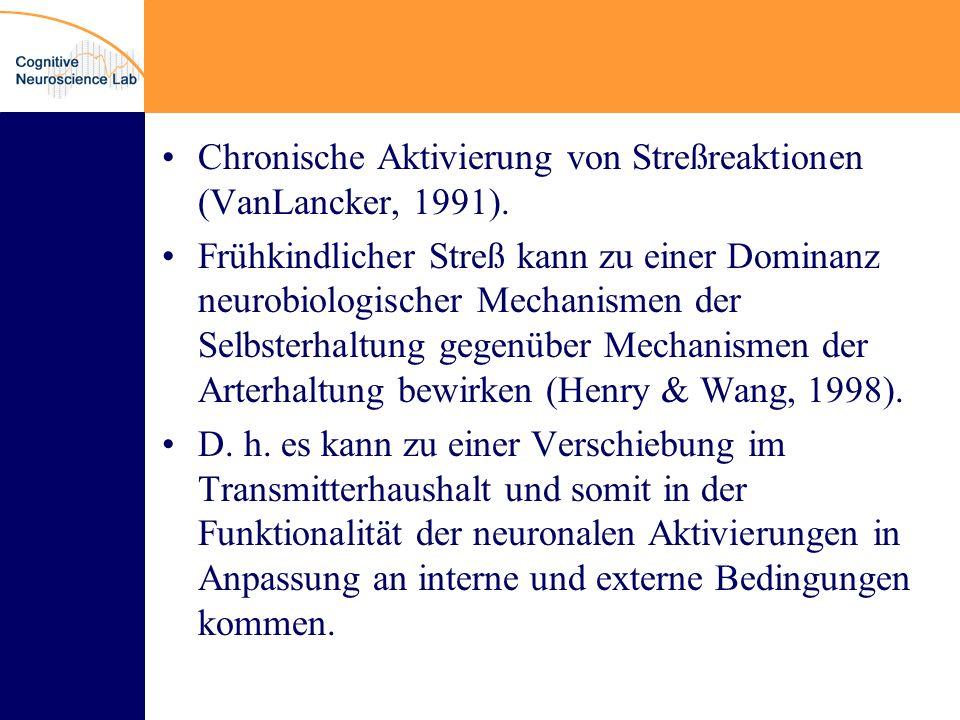 Chronische Aktivierung von Streßreaktionen (VanLancker, 1991).