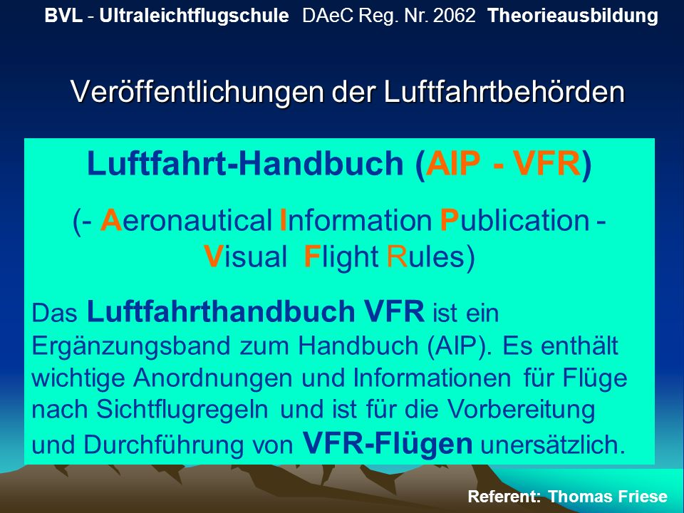 Veröffentlichungen der Luftfahrtbehörden