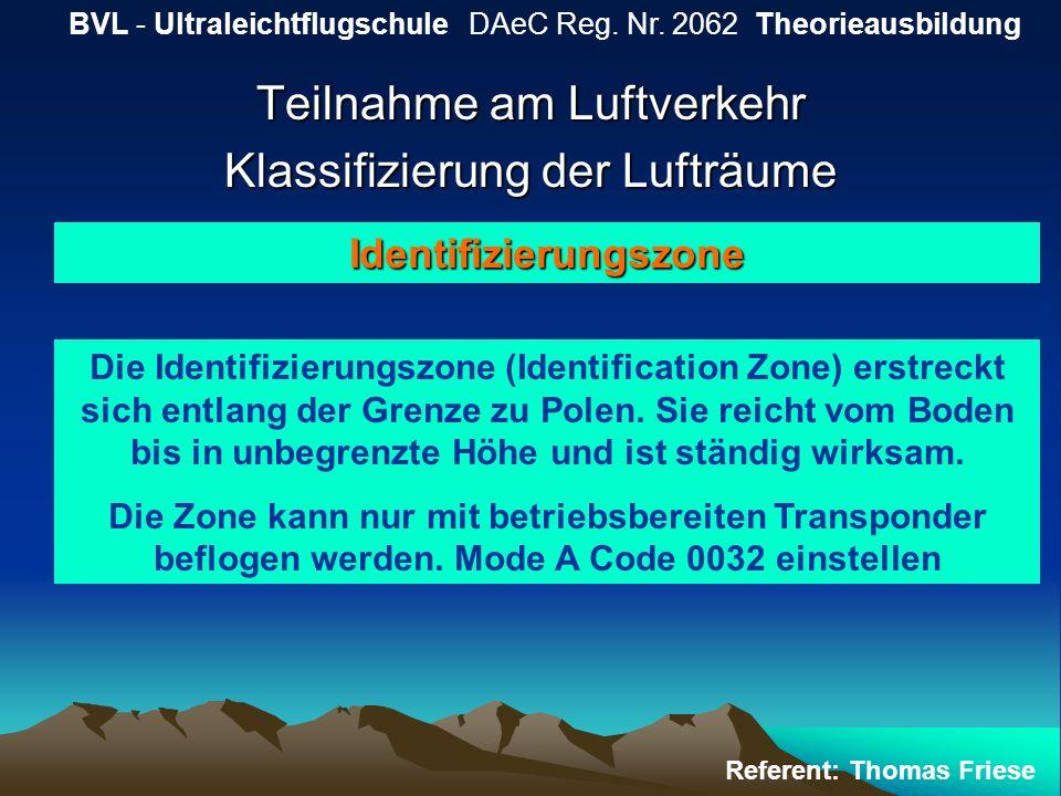 Teilnahme am Luftverkehr Klassifizierung der Lufträume