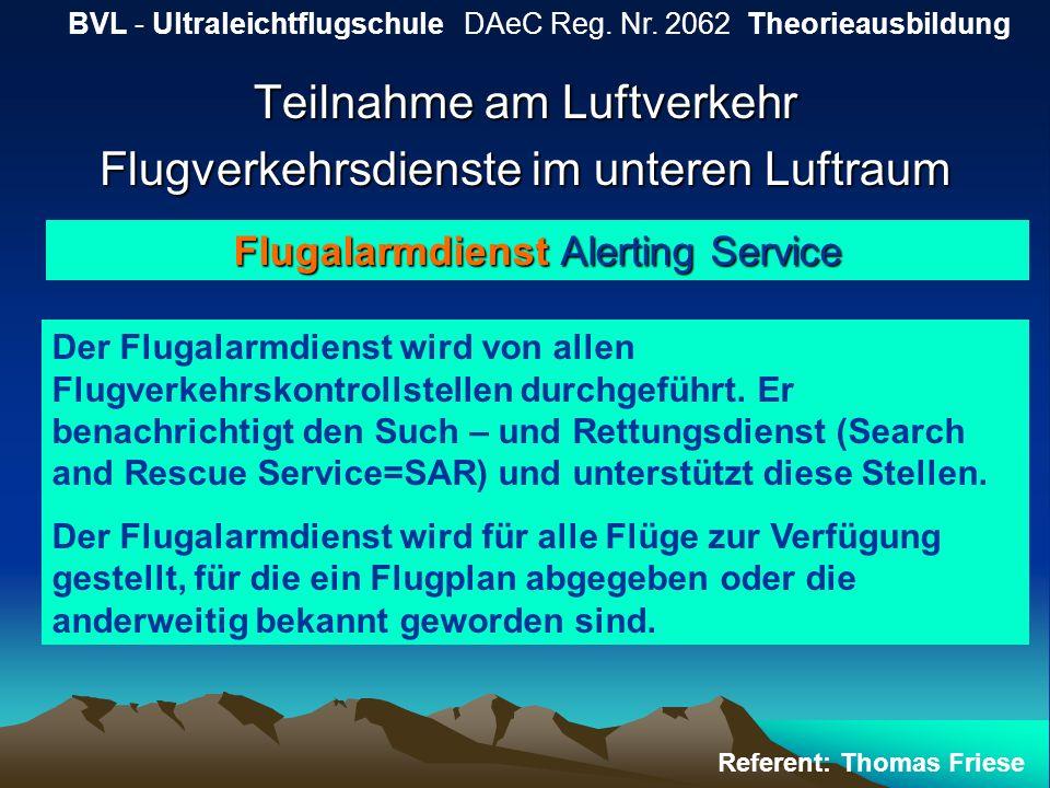 Teilnahme am Luftverkehr Flugverkehrsdienste im unteren Luftraum