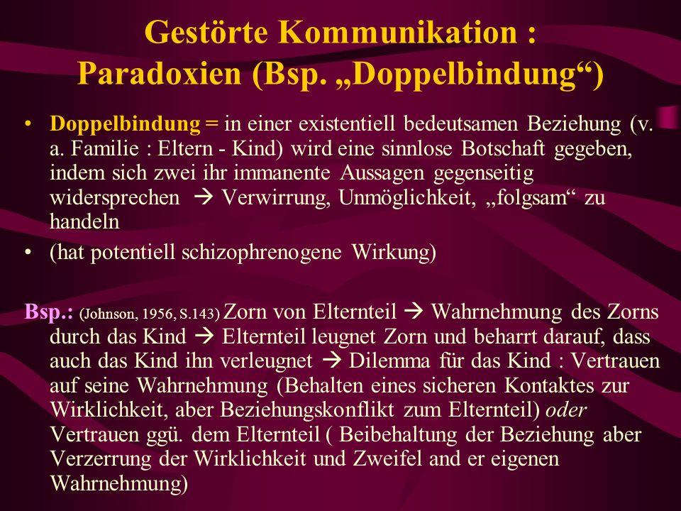 """Gestörte Kommunikation : Paradoxien (Bsp. """"Doppelbindung )"""