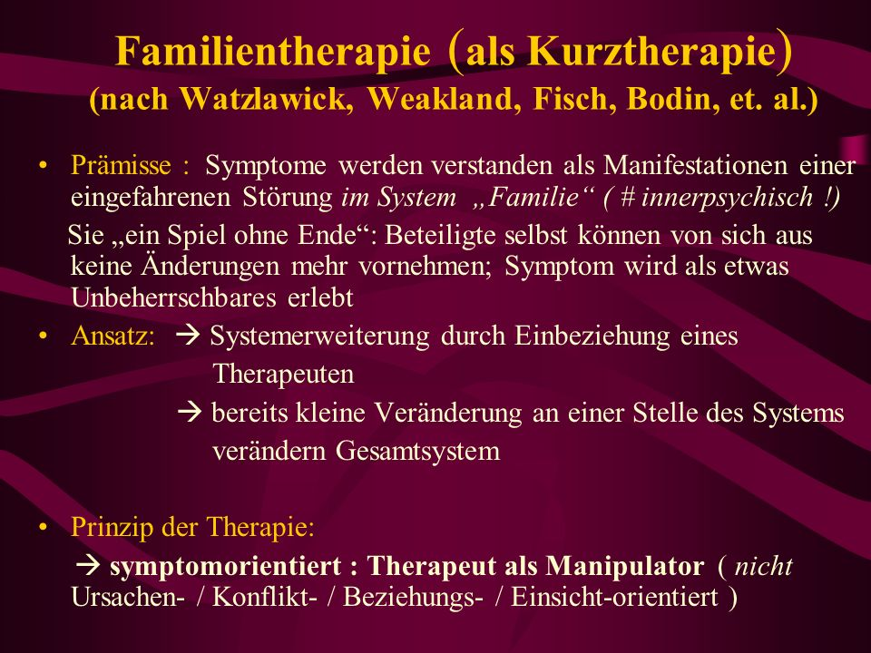 Familientherapie (als Kurztherapie) (nach Watzlawick, Weakland, Fisch, Bodin, et. al.)