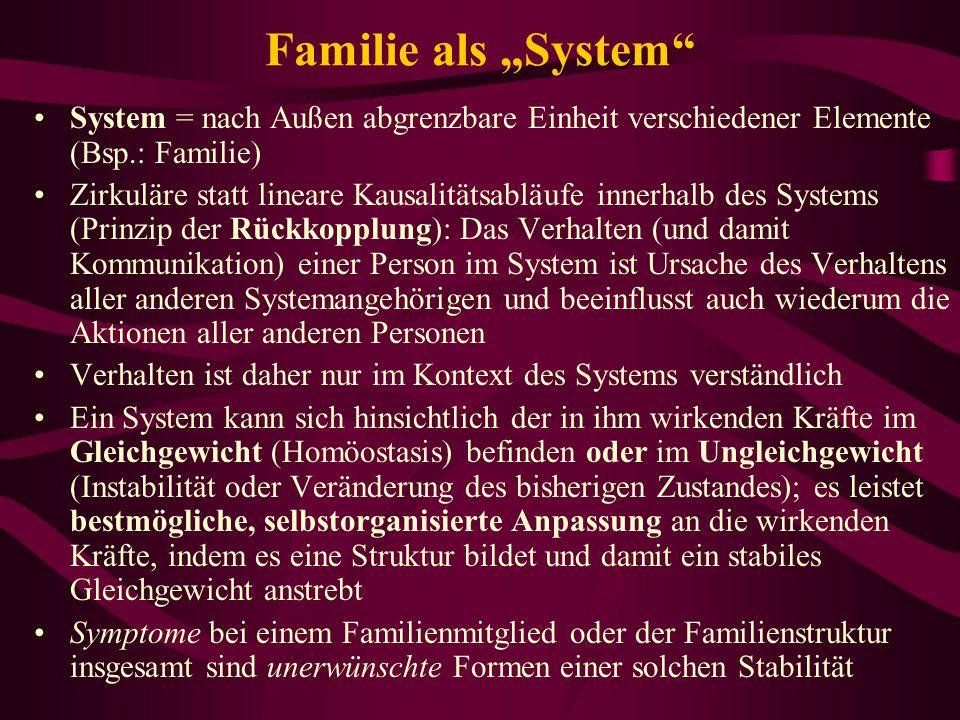 """Familie als """"System System = nach Außen abgrenzbare Einheit verschiedener Elemente (Bsp.: Familie)"""