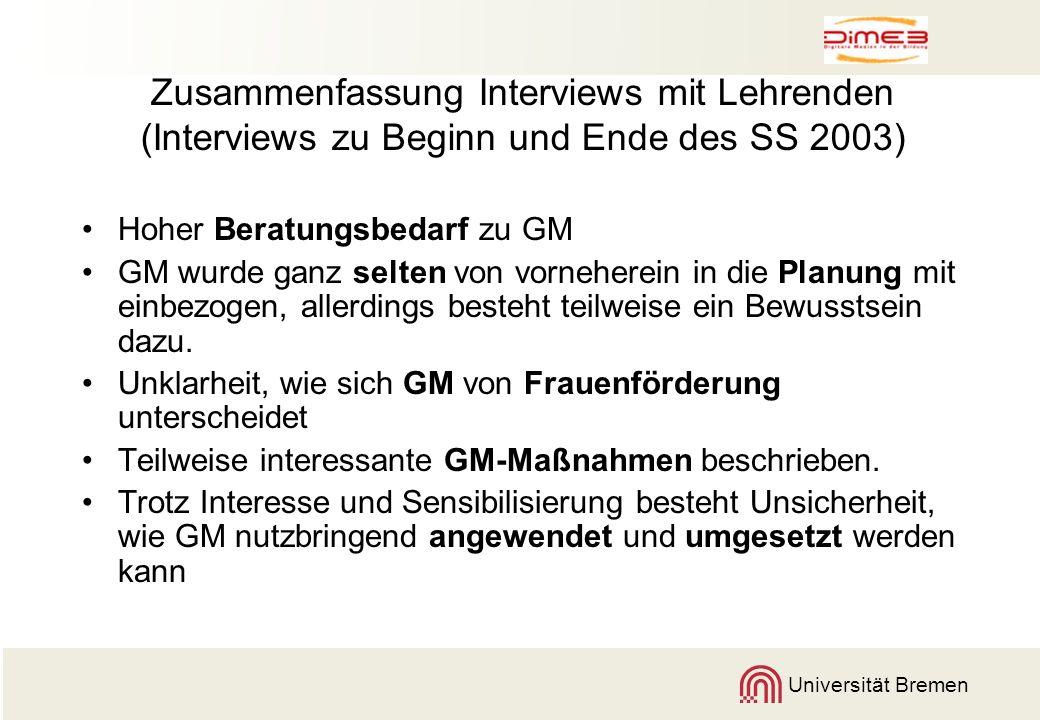 Zusammenfassung Interviews mit Lehrenden (Interviews zu Beginn und Ende des SS 2003)