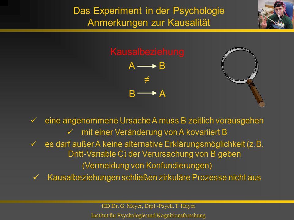 Das Experiment in der Psychologie Anmerkungen zur Kausalität