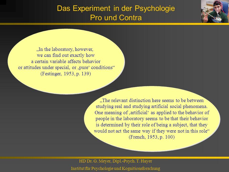 Das Experiment in der Psychologie Pro und Contra