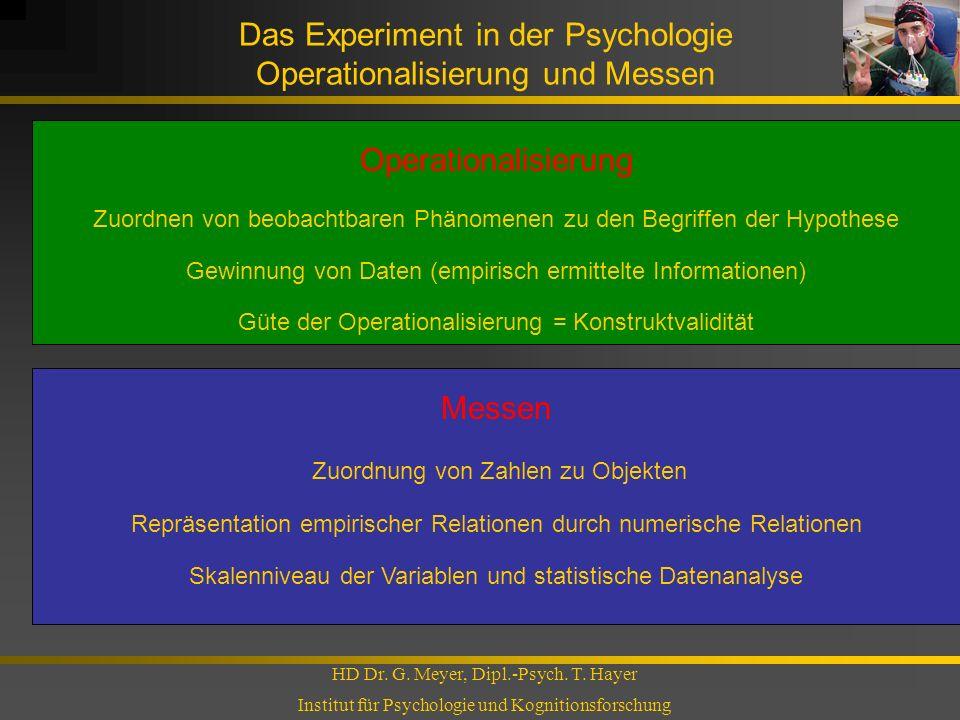 Das Experiment in der Psychologie Operationalisierung und Messen
