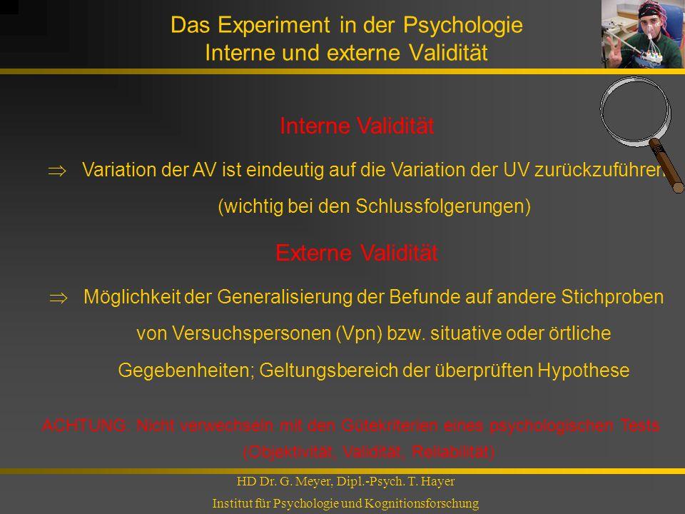 Das Experiment in der Psychologie Interne und externe Validität