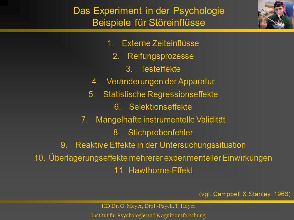 Das Experiment in der Psychologie Beispiele für Störeinflüsse