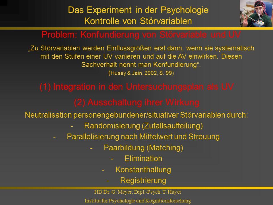 Das Experiment in der Psychologie Kontrolle von Störvariablen