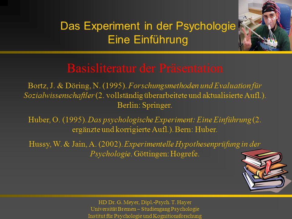 Das Experiment in der Psychologie Eine Einführung