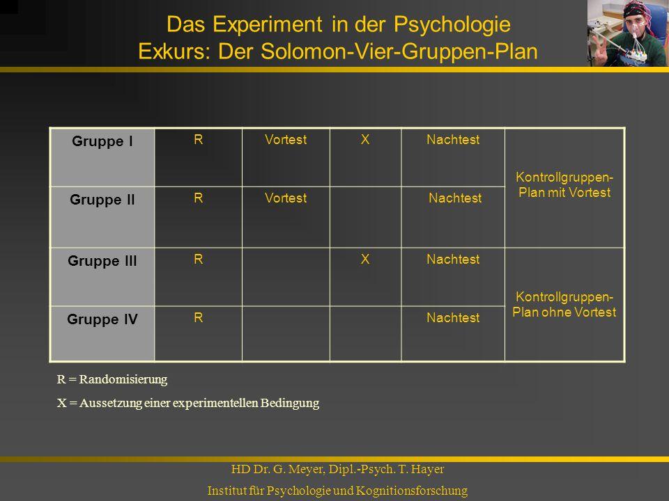Das Experiment in der Psychologie Exkurs: Der Solomon-Vier-Gruppen-Plan