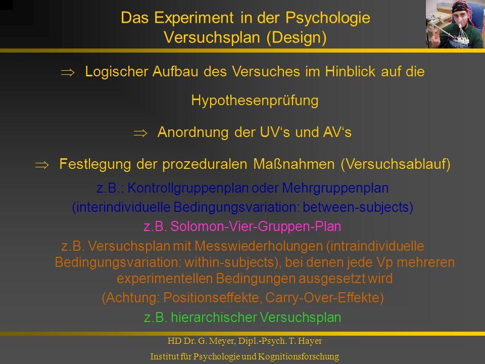 Das Experiment in der Psychologie Versuchsplan (Design)