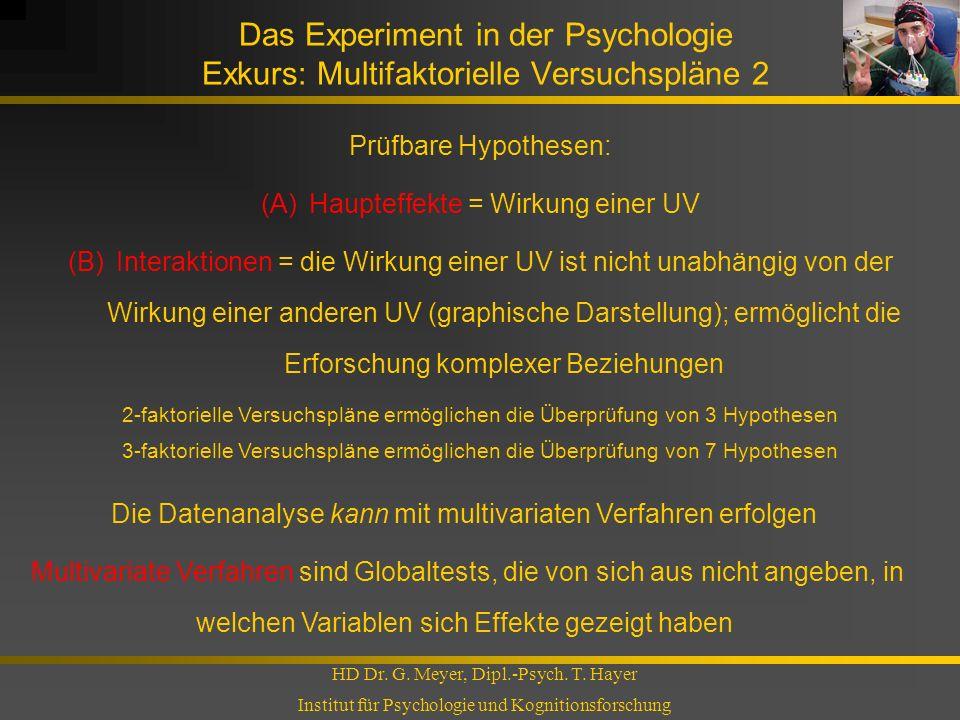 Das Experiment in der Psychologie Exkurs: Multifaktorielle Versuchspläne 2