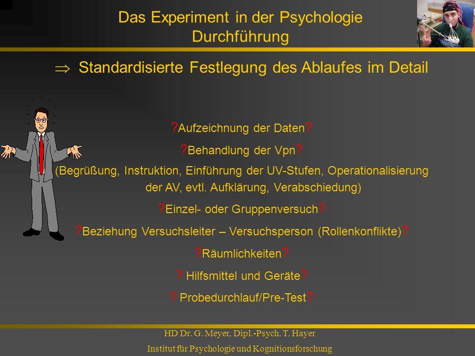 Das Experiment in der Psychologie Durchführung