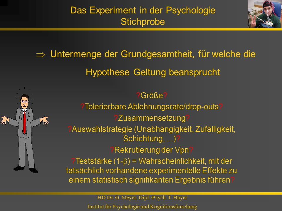 Das Experiment in der Psychologie Stichprobe