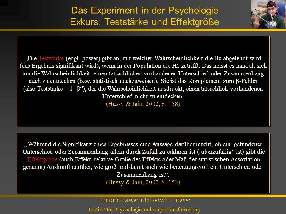 Das Experiment in der Psychologie Exkurs: Teststärke und Effektgröße