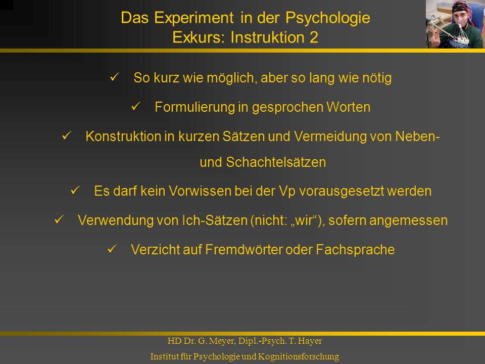 Das Experiment in der Psychologie Exkurs: Instruktion 2