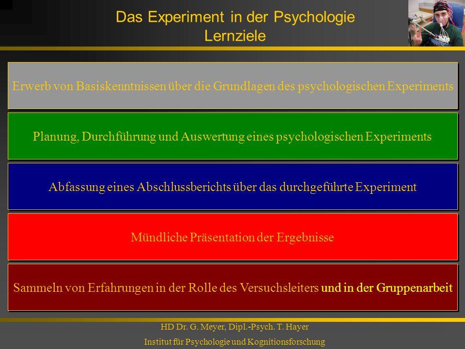 Das Experiment in der Psychologie Lernziele