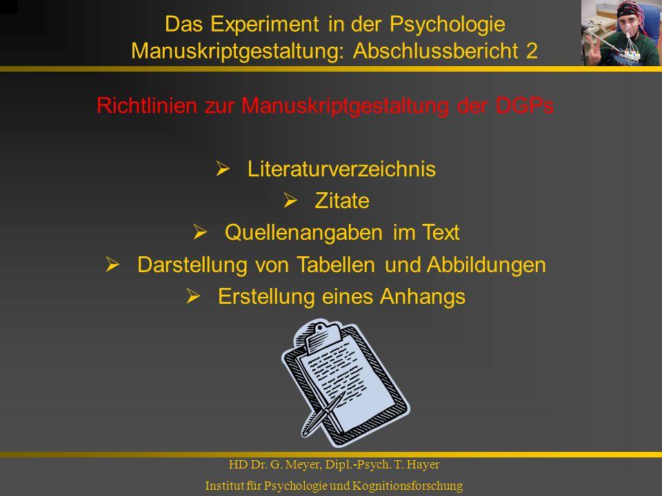 Richtlinien zur Manuskriptgestaltung der DGPs Literaturverzeichnis