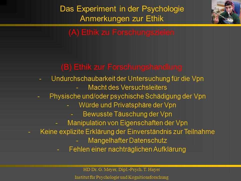Das Experiment in der Psychologie Anmerkungen zur Ethik