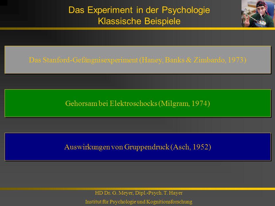 Das Experiment in der Psychologie Klassische Beispiele