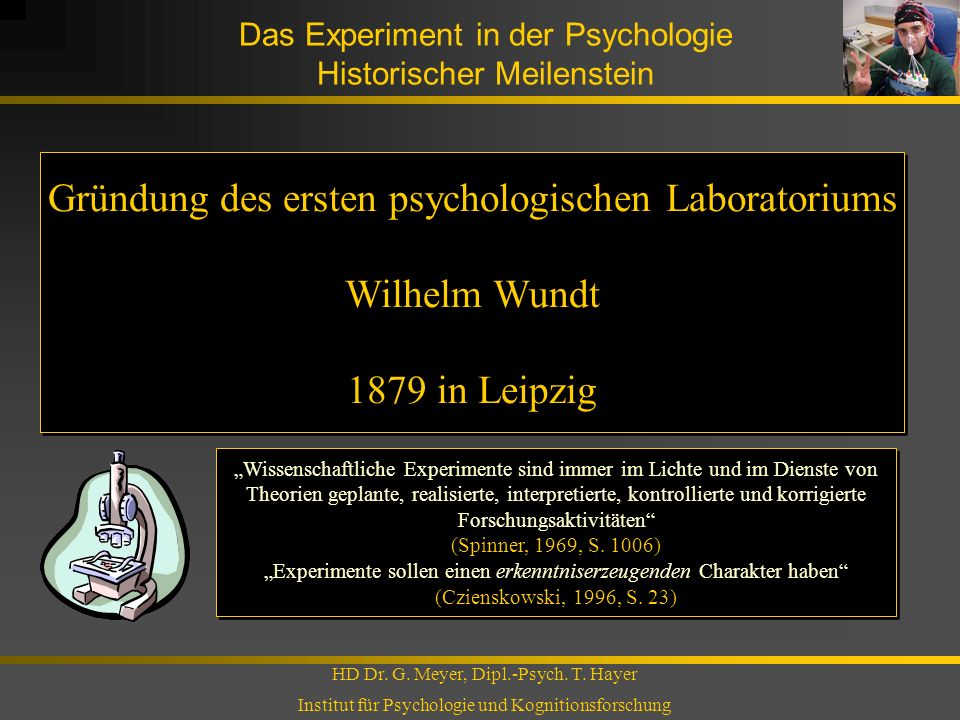 Das Experiment in der Psychologie Historischer Meilenstein