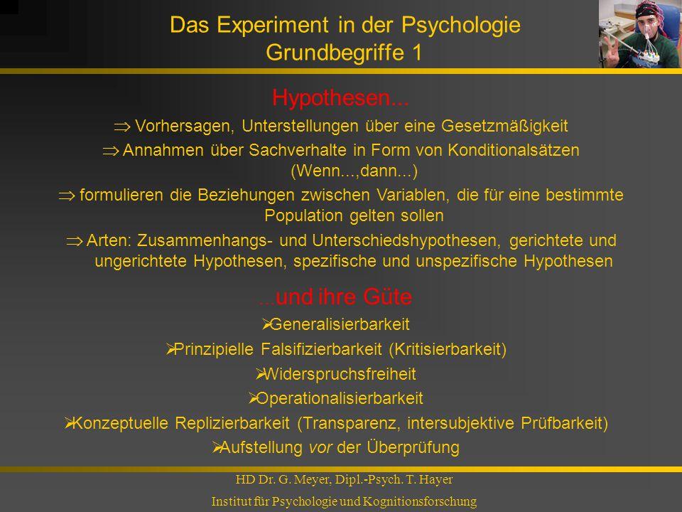 Das Experiment in der Psychologie Grundbegriffe 1