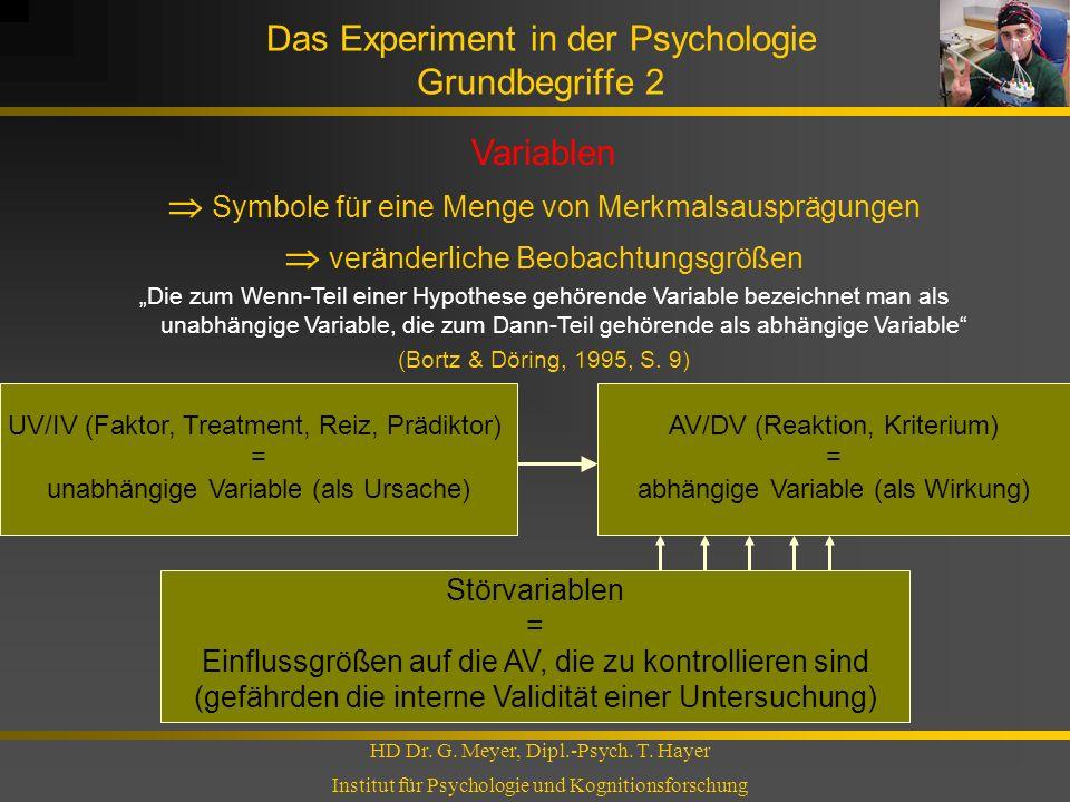 Das Experiment in der Psychologie Grundbegriffe 2