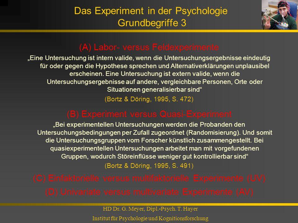 Das Experiment in der Psychologie Grundbegriffe 3