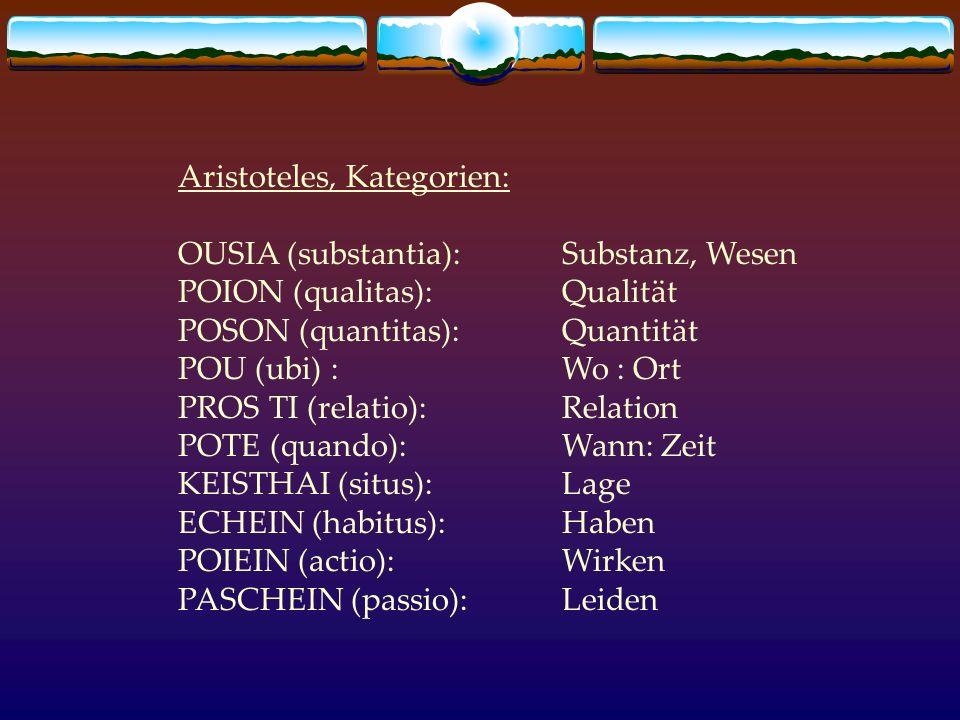 Aristoteles, Kategorien: