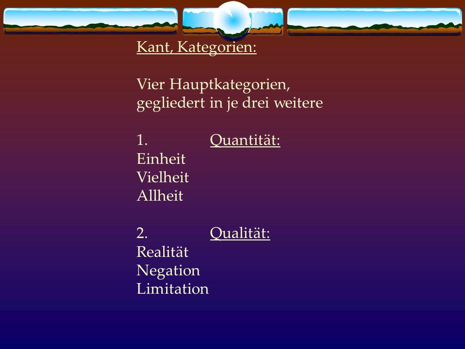 Kant, Kategorien: Vier Hauptkategorien, gegliedert in je drei weitere. 1. Quantität: