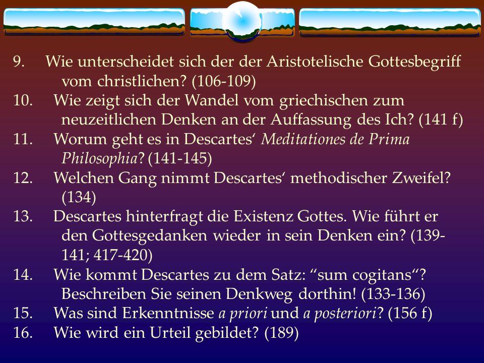 9. Wie unterscheidet sich der der Aristotelische Gottesbegriff