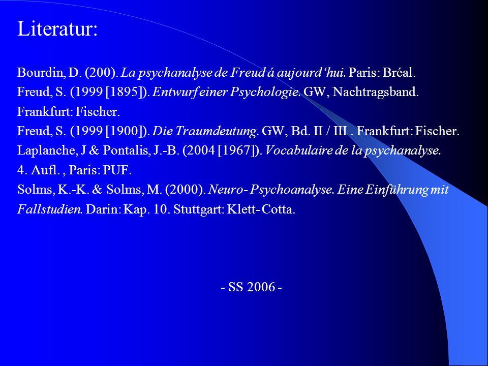 Literatur: Bourdin, D. (200). La psychanalyse de Freud á aujourd'hui. Paris: Bréal.