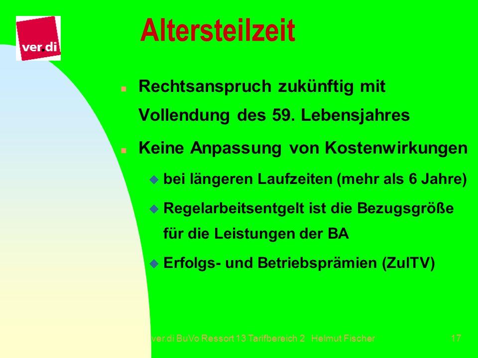 ver.di BuVo Ressort 13 Tarifbereich 2 Helmut Fischer