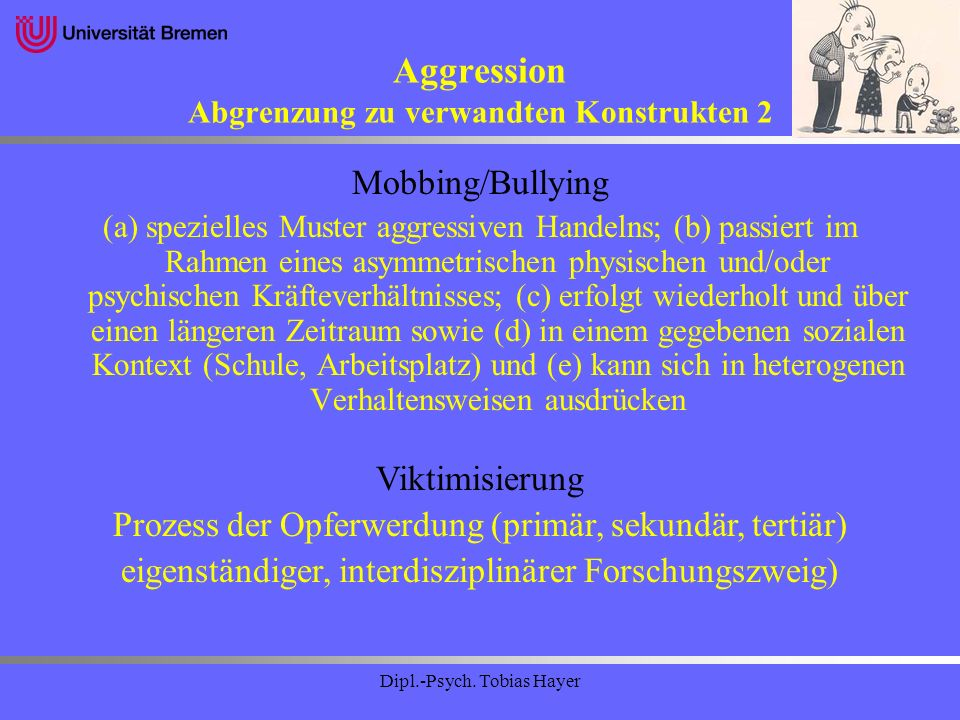 Aggression Abgrenzung zu verwandten Konstrukten 2