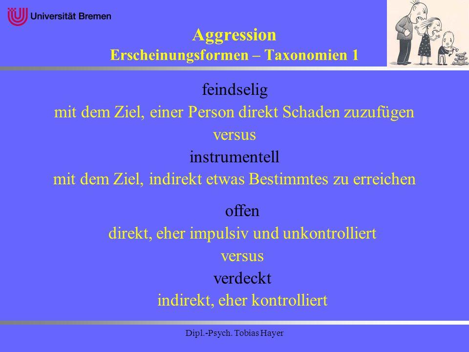Aggression Erscheinungsformen – Taxonomien 1