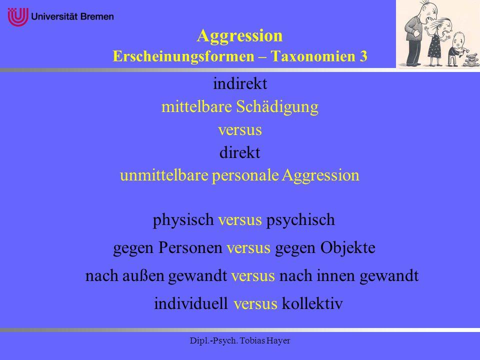Aggression Erscheinungsformen – Taxonomien 3