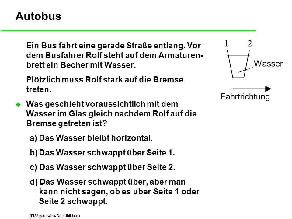 Autobus Ein Bus fährt eine gerade Straße entlang. Vor dem Busfahrer Rolf steht auf dem Armaturen- brett ein Becher mit Wasser.