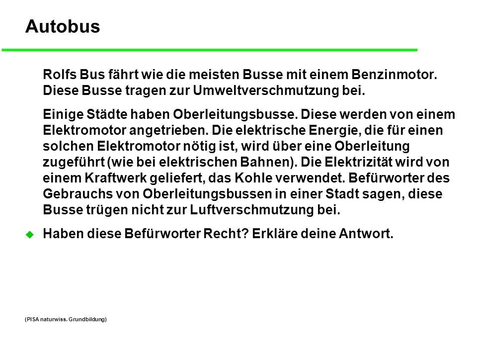 Autobus Rolfs Bus fährt wie die meisten Busse mit einem Benzinmotor. Diese Busse tragen zur Umweltverschmutzung bei.