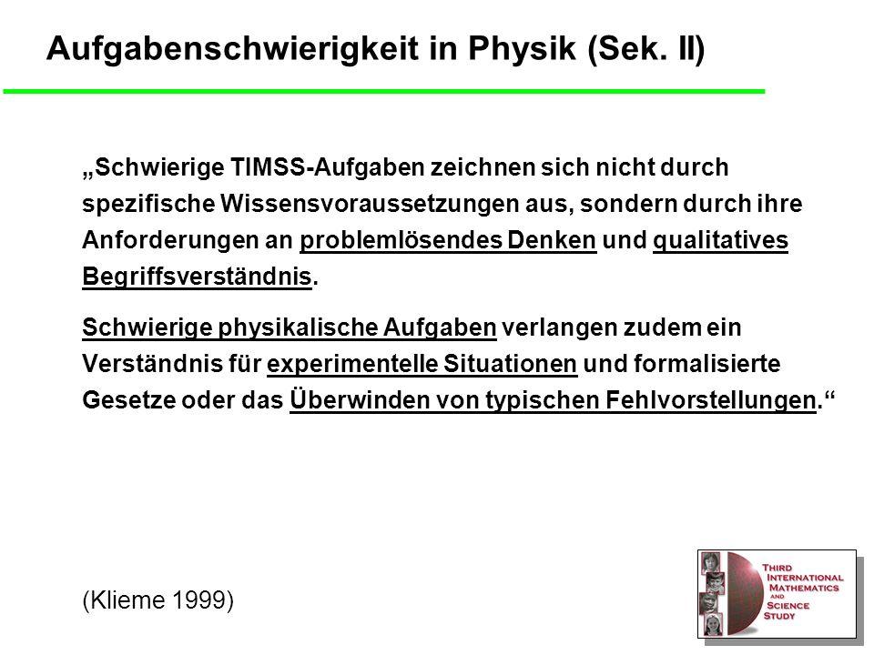 Aufgabenschwierigkeit in Physik (Sek. II)