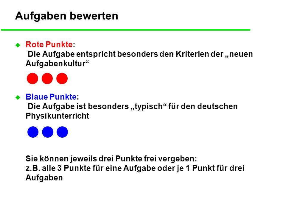 """Aufgaben bewerten Rote Punkte: Die Aufgabe entspricht besonders den Kriterien der """"neuen Aufgabenkultur"""