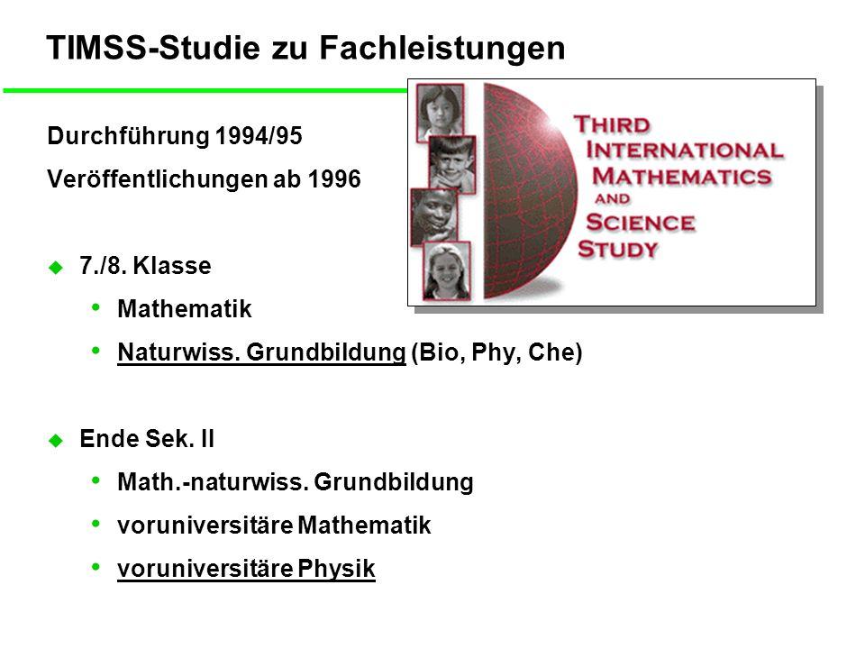 TIMSS-Studie zu Fachleistungen